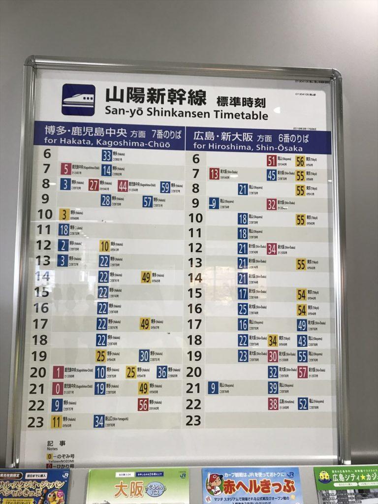 徳山駅新幹線時刻表