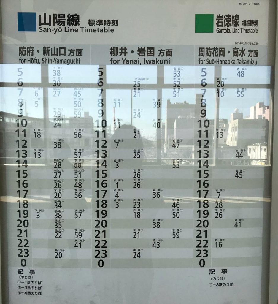 徳山駅在来線時刻表